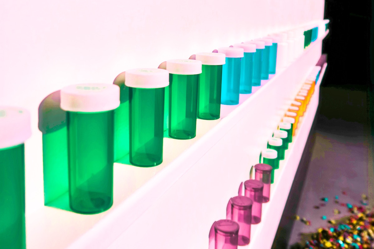 medicine bottles lined up