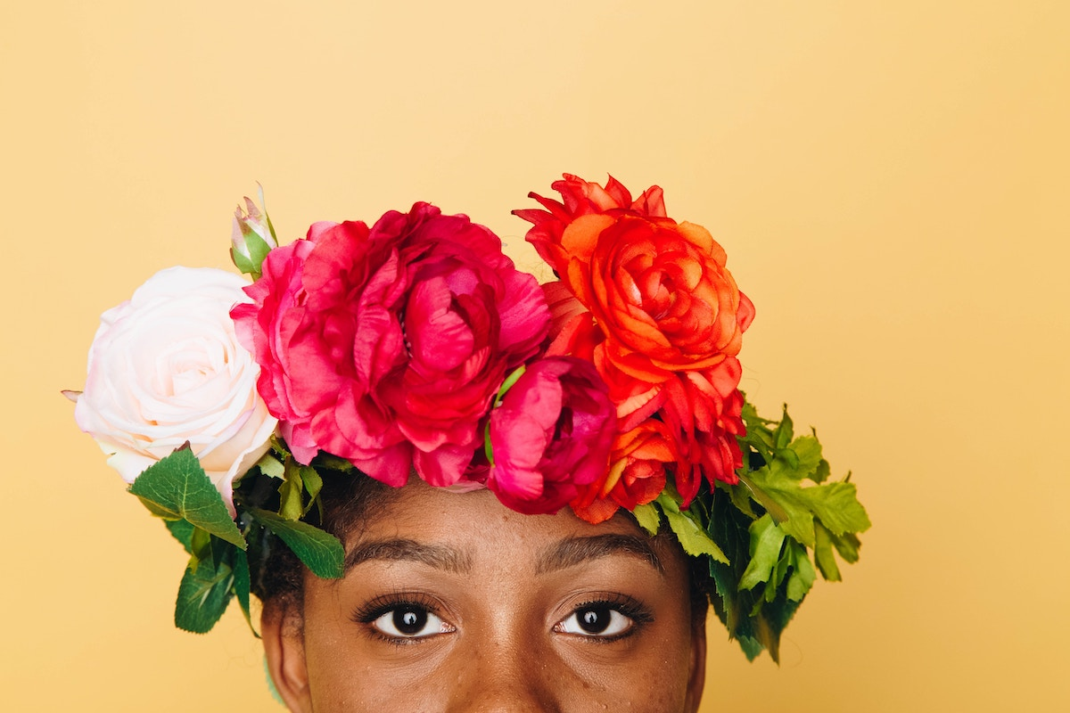 woman with flower headband