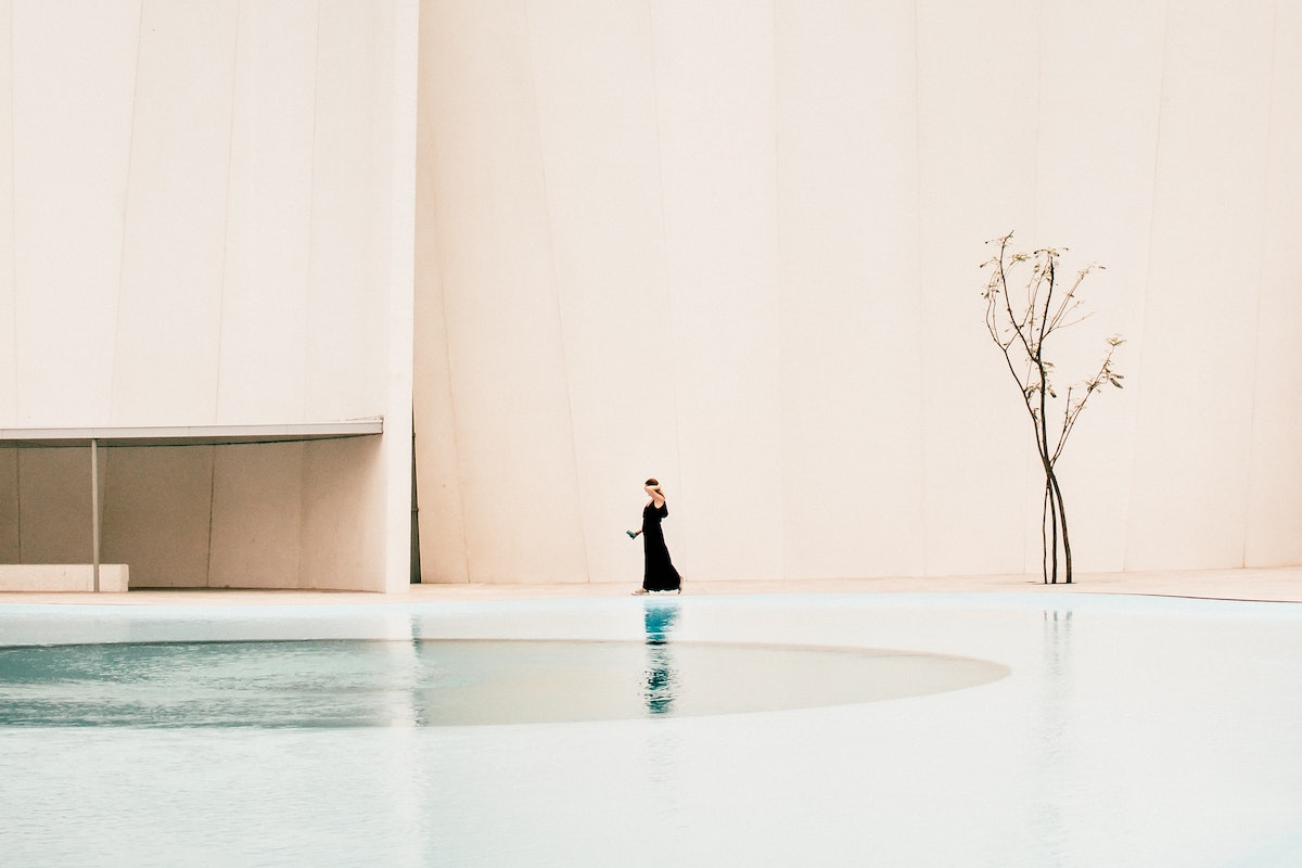 woman next to pool